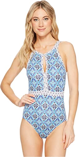 Tommy Bahama - Tika Tiles High-Neck One-Piece Swimsuit