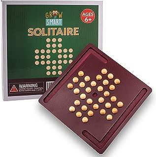 Marble Solitaire Game by GrowUpSmart | Hi-Q, Brainvita, Solo Noble Brainteaser Puzzle | Peg Wood Travel Set