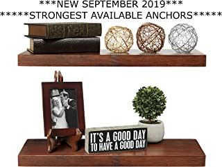 Rustic Farmhouse Premium 2 Tier Floating Wood Shelf - Floating Wall Shelves (Set of 2), Hardware and Fasteners Included (2 Tier 8