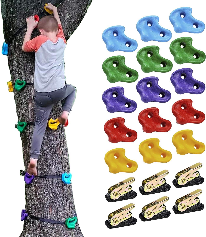 ChaiRLIN - Piedras de escalada para niños con asas para escalada, para paredes de escalada, soporta hasta 200 kg, incluye juego de tornillos