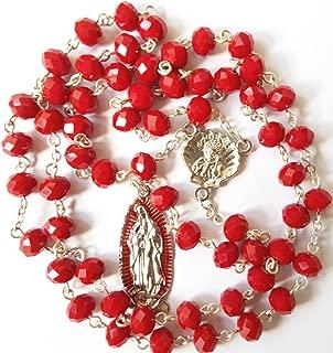redrubygua Rosario De La Virgen De Guadalupe St. James Shell Camino de Santiago Red Crystals Rosary Beads