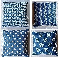 Traditional Jaipur Indigo Kantha Block Print Cushion Covers, Handmade Kantha Work Pillows 16x16 Decorative Throw Pillowcase, Indian Outdoor Cushions, Boho Pillow Sham Set of 4 Pattern Cushion Covers