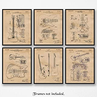 Original Fender Guitars Patent Poster Prints, Set of 6 (8x10) Unframed Photos, Great Wall Art Decor Gifts Under 20 for Home, Office, Man Cave, Studio, College Student, Teacher, Band, Rock & Roll Fan