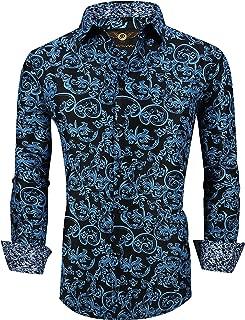 Premiere Men's Colorful Paisley Designer Fashion Dress Shirt Floral Casual Shirt Woven Long Sleeve Button Down Shirt