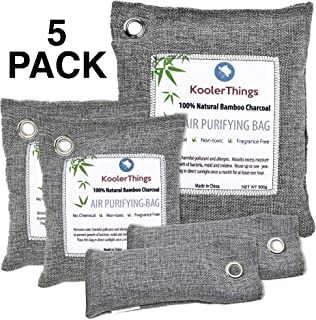 KoolerThings 5 Pack - Bamboo Charcoal Air Purifying Bags (1 x 500g) (2 x 200g) (2 x 75g) Natural Air Fresheners & Odor Eliminators for Home, Pets,Car, Closet, Shoes