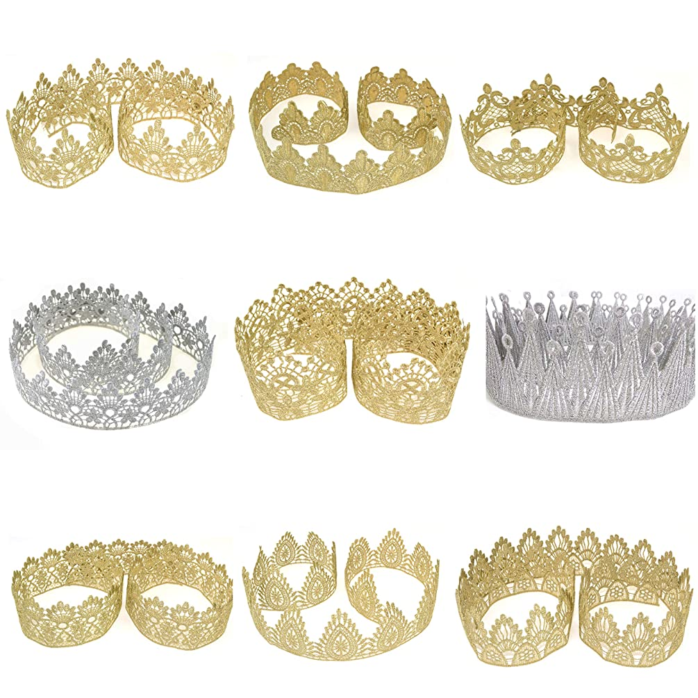 Star Quality Golden Crown Lace for Baby and Grown up DIY Craft Crown | Craft Lace for Princess, Prince and Doll's Crown (1 Yard, Jewels Crown Lace)