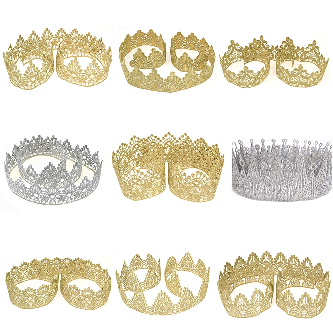 Star Quality Golden Crown Lace for Baby and Grown up DIY Craft Crown | Craft Lace for Princess, Prince and Doll's Crown (1 Yard, Glory Crown Lace)
