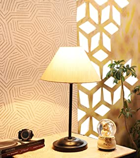 tu casa Off White Cotton Shade Table lamp with Metal Base Holder type-b-22 (Ntu-249)(Bulb not Included)