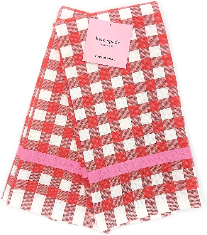 Kate Spade New York Color Pop Gingham Red 2 Pack Kitchen Towels