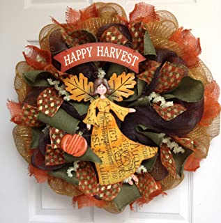 Harvest Blessings Angel Wreath Large Handmade Deco Mesh