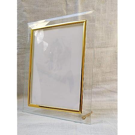 DEEP CREATION SONIT14 Enterprises Glass Home Decor Photo Frame for Table Transparent (Golden)