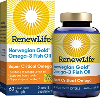 Renew Life Norwegian Gold Adult Fish Oil - Super Critical Omega, Fish Oil Omega-3 Supplement - Gluten & Dairy Free - 60 Bu...