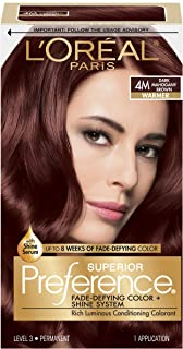 L'OrÃal Paris Superior Preference Fade-Defying + Shine Permanent Hair Color, 4M Dark Mahogany Brown, 1 kit Hair Dye , 1 Count