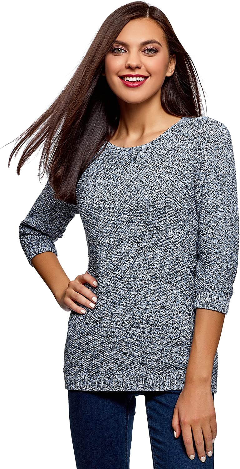 oodji Ultra Women's Relaxed-Fit Mélange Pullover