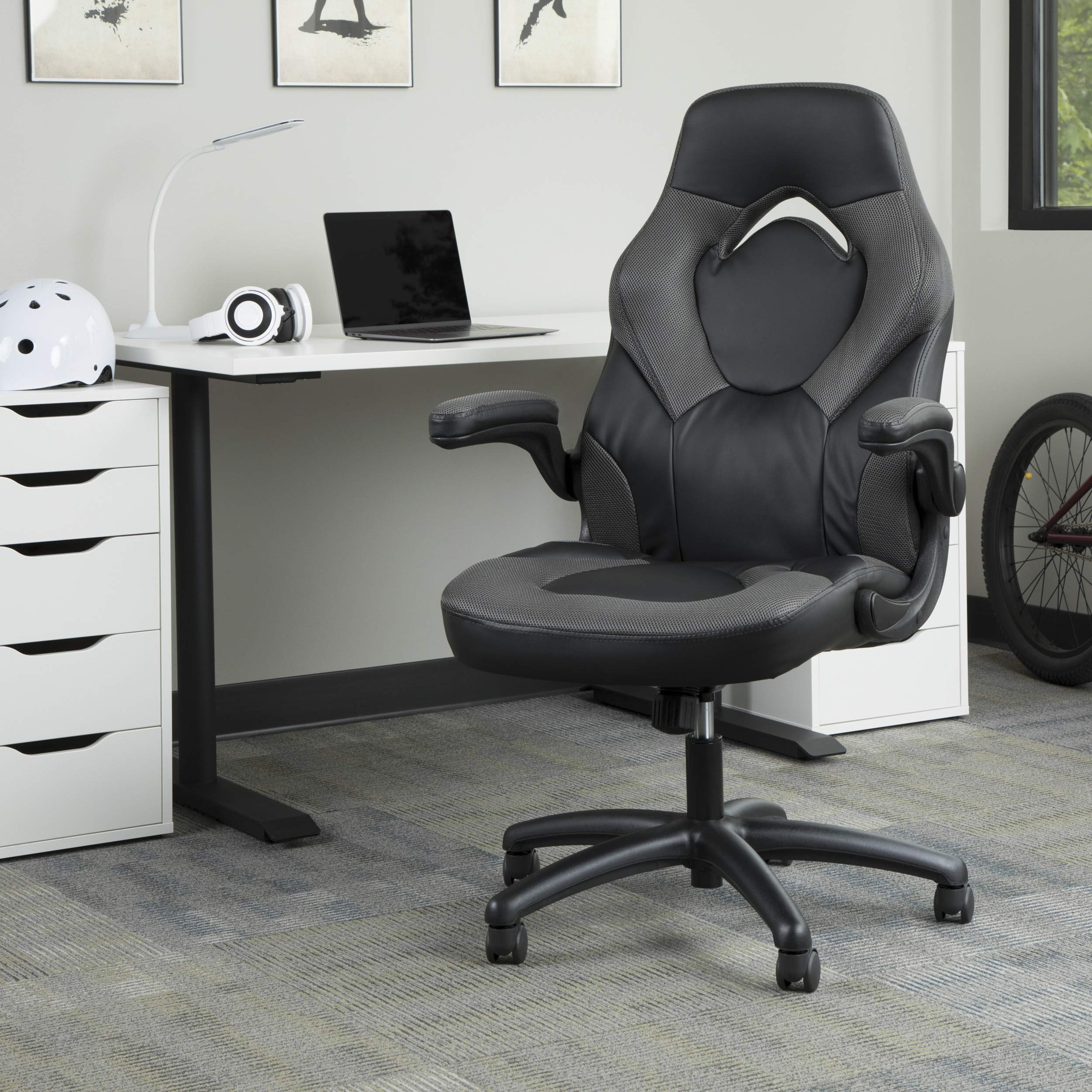 Essentials Racing Style Leather Gaming Chair Ergonomic Swivel Computer Office Or Gaming Chair Gray Ess 3085 Gry Amazon Sg Home