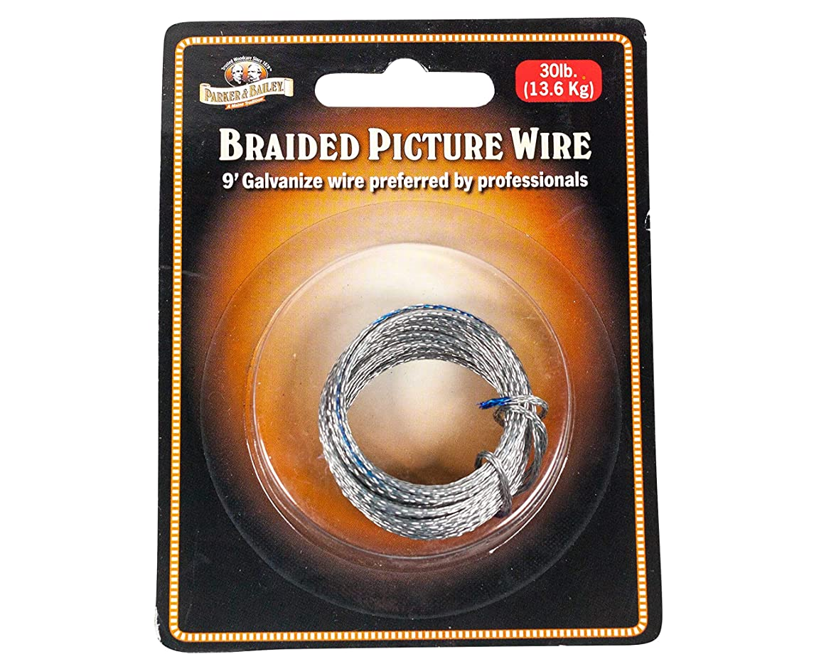 Parker & Bailey 9 Foot Galvanized Braided Picture Wire, 30 Pound Weight Limit - 1 Pack