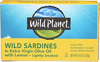 Wild Planet Wild Sardines in Extra Virgin Olive Oil with Lemon, Keto and Paleo, 3rd Party Mercury Tested, 4.4 Ounce