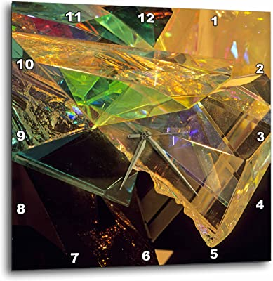 10 by 10-Inch 3dRose dpp/_19259/_1 Golden Abstract Abstract Fractal Digital Work of Reflecting Gold Glass and Metal Wall Clock