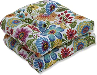 Pillow Perfect Outdoor   Indoor Gregoire Prima Wicker Seat Cushion (Set of 2), Blue 19 X 19 X 5