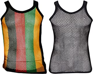 UD Accessories Mens Fitted String Mesh Vest Muscle Fishnet Cotton Rasta Black Red Green Yellow