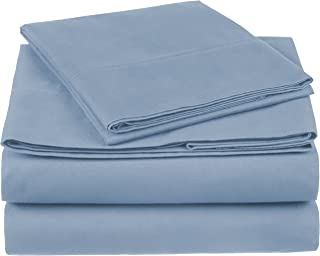 Pinzon 300 Thread Count Organic Cotton Bed Sheet Set - Twin, Flint Blue