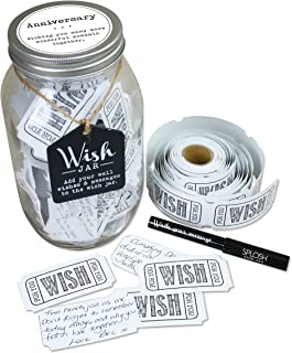 TOP SHELF Anniversary Wish Jar ; Personalized Gift Idea for Couples ; Unique and Thoughtful Gifts for Husband and Wife ; Kit Comes with 100 Tickets and Decorative Lid
