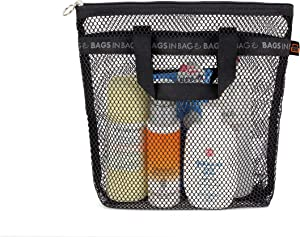 Bags in bag Portable Shower Mesh Caddy Bag Quick Dry Hanging Toiletry and Bath Organizer for Travel and Swimming (Black)