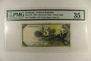 1948 No Mint Mark Federal Republic 5 Deutsche Mark PMG CHVF35