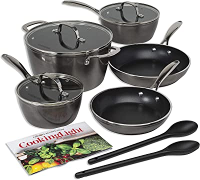 Cooking Light Inspire Non-Stick Cookware Set, Dishwasher Oven Safe Pots and Pans, Steam Vented Glass Lids, 2 Nylon Tools Included, 10 Piece, Gunmetal Gray