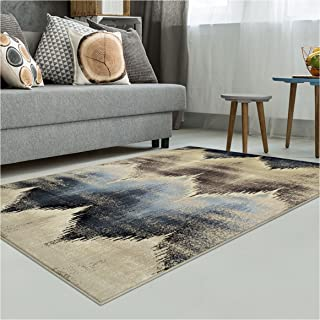 Superior Cadwell Collection Area Rug, 10mm Pile Height with Jute Backing, Fashionable and Affordable Rugs, Designer Inspired Ikat Chevron Pattern - 8' x 10' Rug, Brown, Beige, and Blue