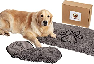 Dog Door Mat & FREE matching Dog Towel gift set: non-slip microfiber, super absorbent, machine washable entryway mat and soft towel with hand pockets and hook. Keeps floor clean and your dog happy!