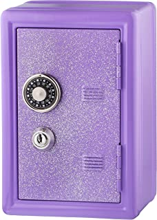 Kids Safe Bank, Made of Metal, with Key and Combination Lock, (Purple)