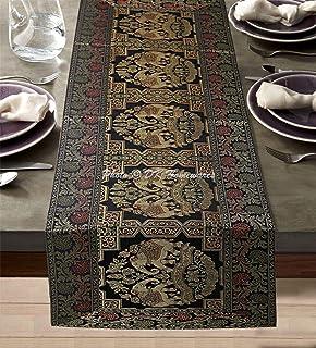 DK Homewares Tradition Indienne Décor De Cuisine 40 X 150 Cm Nappe De Table Brocart Noir Jacquard Rectangular 5 Pieds Chem...