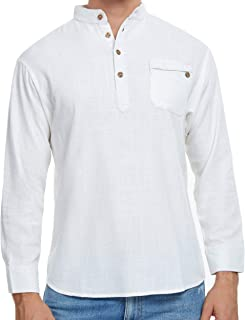 Cafuny Men's Casual Long Sleeve Solid Gentle Style Natural Linen Henley Popover Shirt