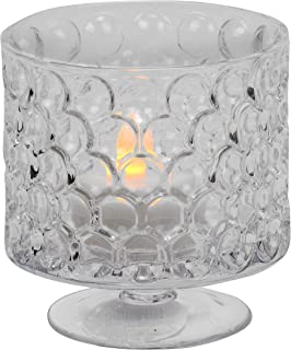 Biedermann & Sons Decorative Glass Pedestal Base Candle Holder, 3.5 x 3.6-Inches, Hobnail