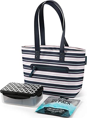 Arctic Zone Bennet Tote with 6PC Printed Leak Proof Bento and 250g High Performance Ice Pack-Mixed Stripes, 228oz