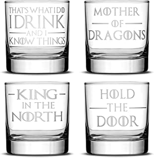 Integrity Bottles Set of 4, Premium Game of Thrones Whiskey Glasses, I Drink and I Know Things, Mother of Dragons, King in the North, Hold the Door, Drinking Gifts, Made in USA