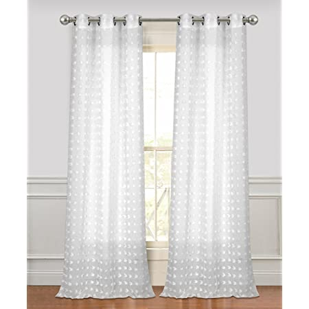 Dainty Home Cut Flower Linen Look Grommet Panel Pair Window Curtain 38 X 96 Each Total 76 X 96 Textured White 2 Piece Home Kitchen