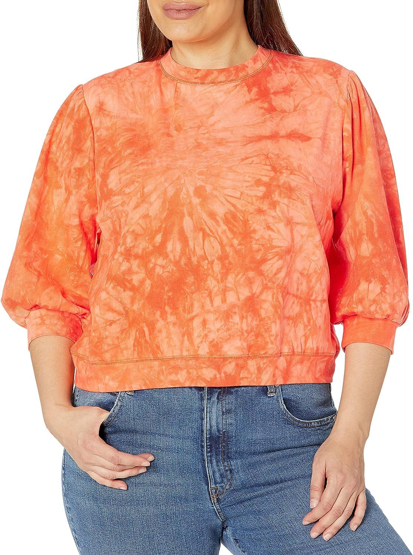 KENDALL + KYLIE Women's Plus Size Elbow Sleeve Crewneck Sweatshirt
