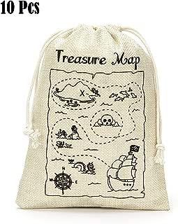 Treasure Map Gift Bags- Treasure Hunt Bags for Kid's Pirate Theme Party- Set of 10