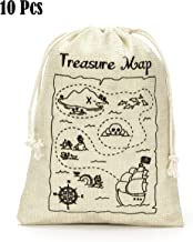 Treasure Map Gift Bags- Treasure Hunt Bags for Kid's Pirate Theme Party- Set of 10