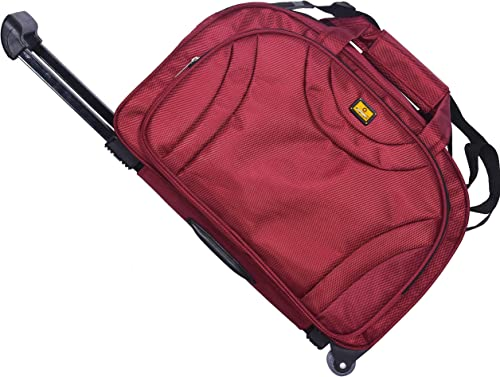 47 Litres Polyester Travel Duffle Collections Soft Sided Duffel With Wheels Rose Red 57 Cm Set Of 1 Pcs Bags