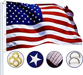 G128 – American Flag   8x12 feet   Heavy Duty Spun Polyester 220GSM – Embroidered Stars, Sewn Stripes, Tough, Durable, Indoor/Outdoor, Vibrant Colors, Brass Grommets, Premium US USA Flag