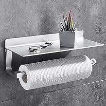 Gricol Keuken Roll Houder Keuken Papier Handdoekhouder met Ruime Plank Roll Tissue Dispenser Wandmontage Geen Boren voor K...