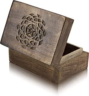 Great Birthday Gift Ideas Handmade Decorative Wooden Jewelry Box Treasure Box Jewelry Organizer Keepsake Box Treasure Chest Trinket Holder Lock Box Watch Box 6 x 4 Inch Her