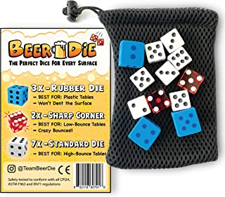 Beer Die - The Perfect Dice for Any Surface - Pack of 12, Rubber, Sharp Edged, and Standard