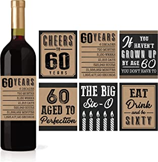 6 60th Birthday Wine or Beer Bottle Labels Stickers Present, 1959 Bday Milestone Gifts For Him Man, Cheers to 60 Years, Vintage Sixty Funny Gag Unique Party Decorations Supplies For Men Husband Male