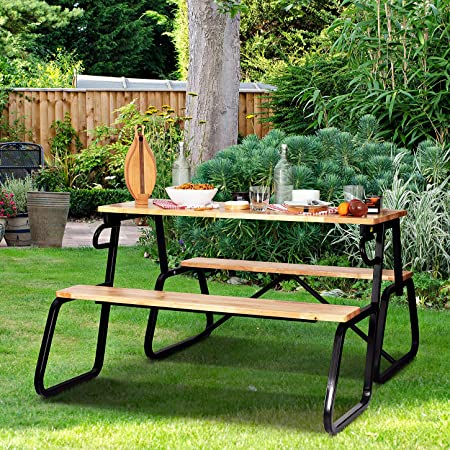 Ashgrove Foldable Picnic Table & Convertible Bench – 2-in-1 Convert Bench Seat, Folding Table – Real Wood & Metal Table Work Bench, Activity Table, Patio Seating