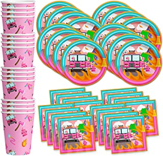 Girl Fire Fighter Birthday Party Supplies Set Plates Napkins Cups Tableware Kit for 16