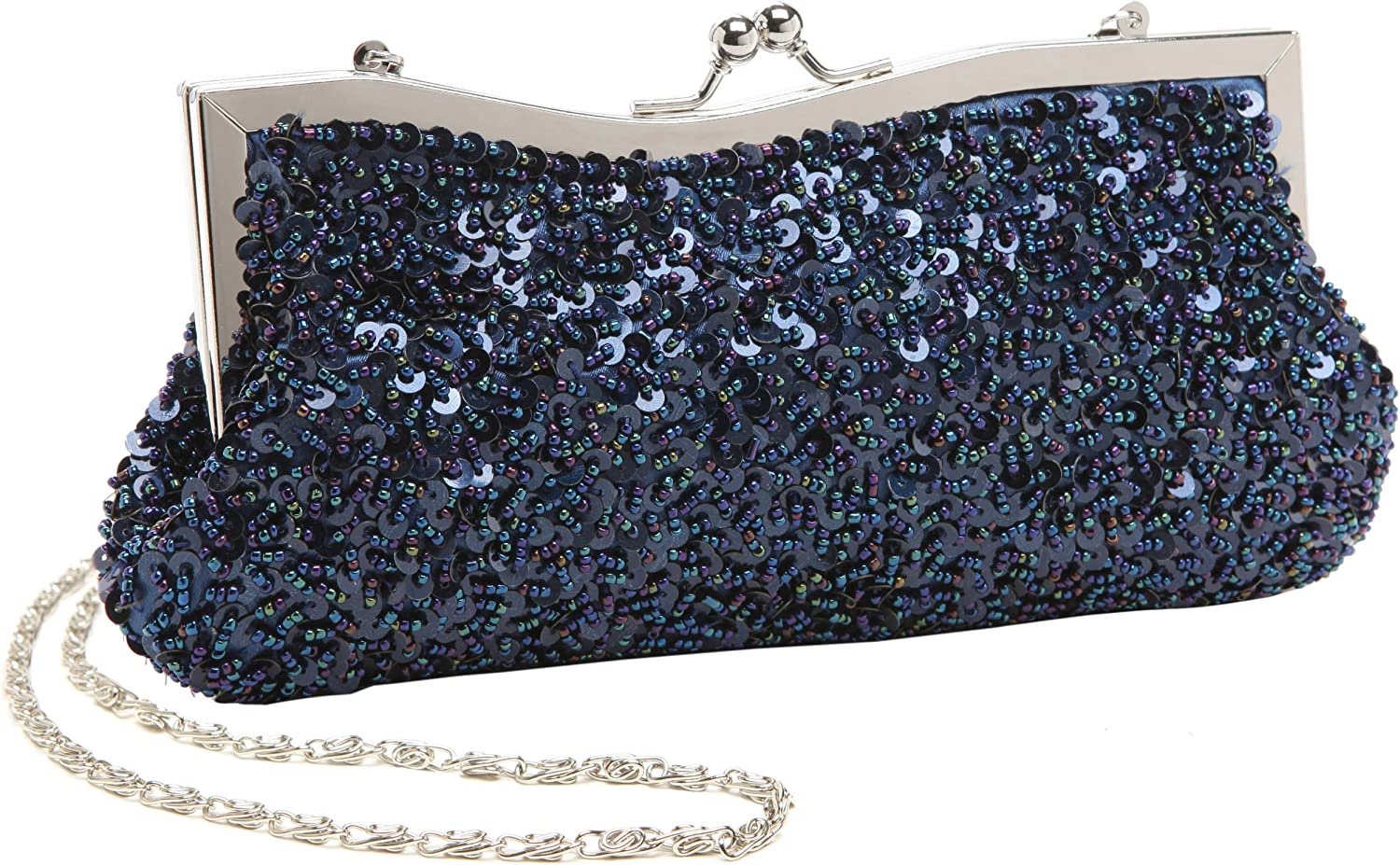 Dazzling Hand Sequined Baguette Style Evening Clutch Purse w Detachable Chains